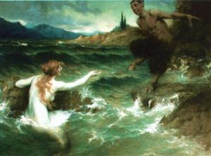 """Quadro """"The Mermaid and the Satyr"""" em que as vozes da sereia convidam sua vítima ao fundo do mar"""